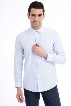 Erkek Giyim - Açık Mavi XL Beden Uzun Kol Desenli Slim Fit Gömlek
