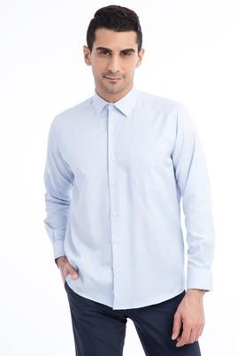 Erkek Giyim - Açık Mavi M Beden Uzun Kol Desenli Klasik Gömlek