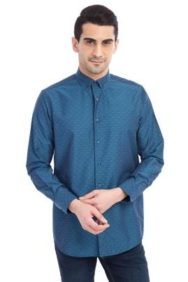 Erkek Giyim - Petrol M Beden Uzun Kol Desenli Gömlek