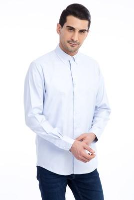 Erkek Giyim - Mavi L Beden Uzun Kol Spor Oxford Gömlek