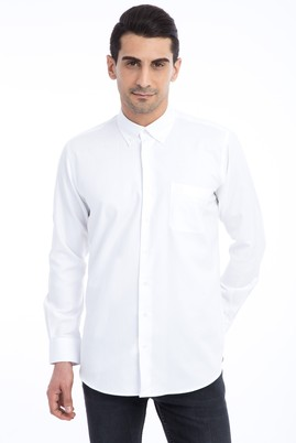 Erkek Giyim - Beyaz 4X Beden Uzun Kol Regular Fit Oxford Gömlek