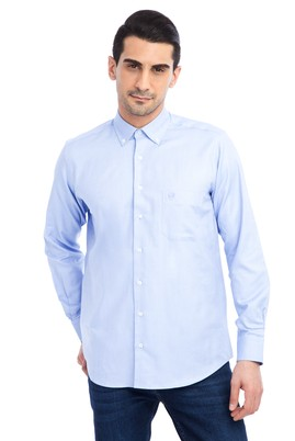 Erkek Giyim - Mavi 3X Beden Uzun Kol Klasik Oxford Gömlek