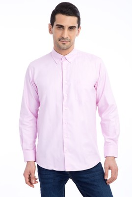 Erkek Giyim - Pembe XXL Beden Uzun Kol Klasik Oxford Gömlek