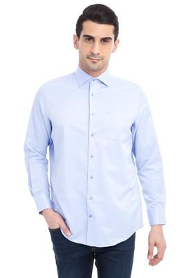 Erkek Giyim - Mavi 3X Beden Uzun Kol Desenli Klasik Gömlek