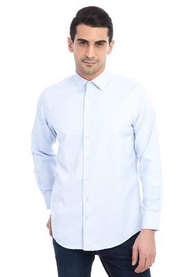 Erkek Giyim - Açık Mavi L Beden Uzun Kol Desenli Gömlek