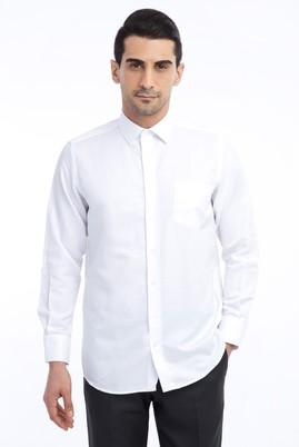 Erkek Giyim - Beyaz 3X Beden Uzun Kol Desenli Gömlek