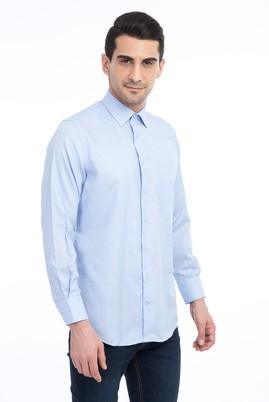 Erkek Giyim - Açık Mavi 3X Beden Uzun Kol Desenli Gömlek