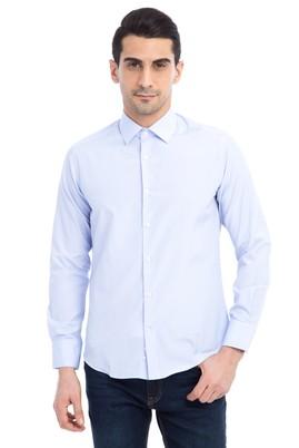 Erkek Giyim - Açık Mavi M Beden Uzun Kol Çizgili Slim Fit Gömlek