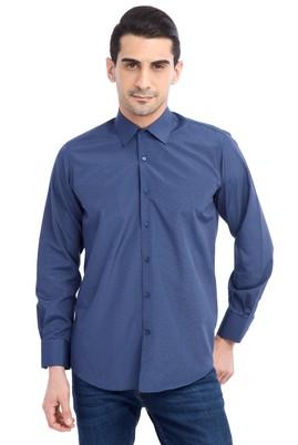 Erkek Giyim - Lacivert M Beden Uzun Kol Çizgili Gömlek