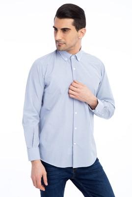 Erkek Giyim - Beyaz L Beden Uzun Kol Kareli Gömlek