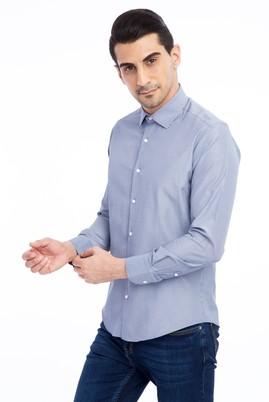 Erkek Giyim - Lacivert M Beden Uzun Kol Slim Fit Çizgili Gömlek