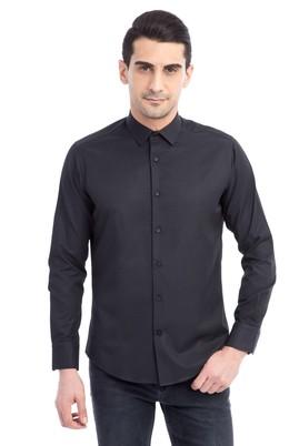 Erkek Giyim - Siyah XL Beden Uzun Kol Desenli Slim Fit Gömlek