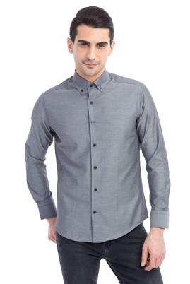 Erkek Giyim - Füme Gri S Beden Uzun Kol Desenli Slim Fit Gömlek