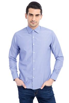 Erkek Giyim - Mavi M Beden Uzun Kol Çizgili Slim Fit Gömlek