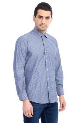 Erkek Giyim - Lacivert XXL Beden Uzun Kol Kareli Gömlek