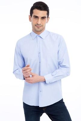 Erkek Giyim - Açık Mavi M Beden Uzun Kol Kareli Gömlek