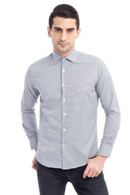 Erkek Giyim - Siyah S Beden Uzun Kol Slim Fit Desenli Gömlek
