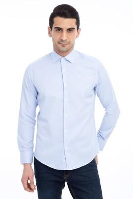 Erkek Giyim - Açık Mavi M Beden Uzun Kol Slim Fit Desenli Gömlek