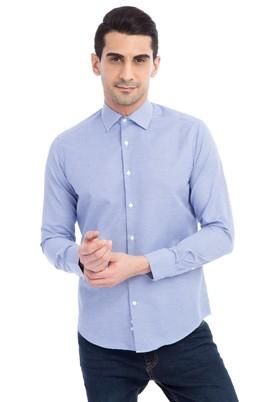 Erkek Giyim - Mavi M Beden Uzun Kol Slim Fit Desenli Gömlek