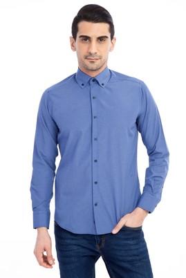 Erkek Giyim - Mavi M Beden Uzun Kol Kareli Slim Fit Gömlek