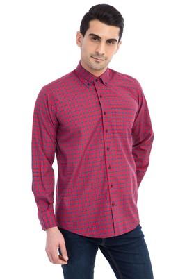Erkek Giyim - Kırmızı M Beden Uzun Kol Kareli Gömlek