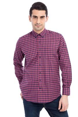 Erkek Giyim - Lacivert M Beden Uzun Kol Kareli Gömlek