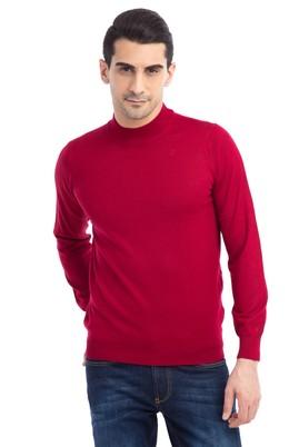 Erkek Giyim - Kırmızı XL Beden Bato Yaka Yünlü Triko Kazak