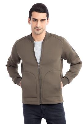 Erkek Giyim - VİZON XXL Beden Fermuarlı Sweatshirt