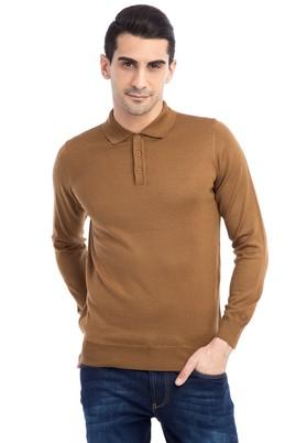 Erkek Giyim - Açık Kahve - Camel M Beden Polo Yaka Yünlü Triko Kazak