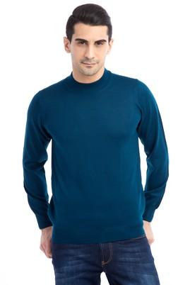 Erkek Giyim - Petrol M Beden Bato Yaka Yünlü Triko Kazak