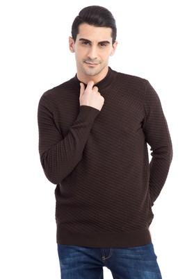 Erkek Giyim - Kahve 3X Beden Bato Yaka Yünlü Desenli Regular Fit Triko Kazak