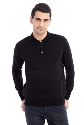 Erkek Giyim - Siyah L Beden Polo Yaka Regular Fit Triko Kazak
