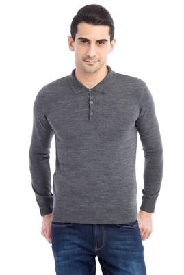 Erkek Giyim - Orta füme XXL Beden Polo Yaka Regular Fit Triko Kazak