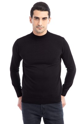 Erkek Giyim - Siyah 3X Beden Bato Yaka Triko Kazak