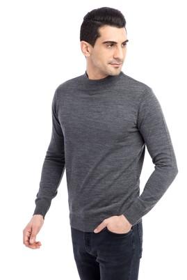 Erkek Giyim - Orta füme L Beden Bato Yaka Triko Kazak