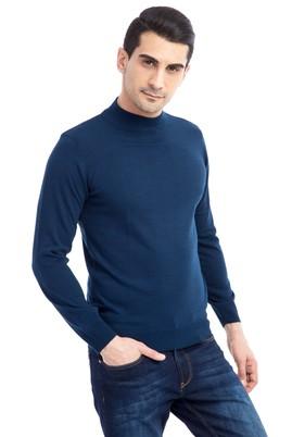 Erkek Giyim - Mavi XL Beden Bato Yaka Triko Kazak
