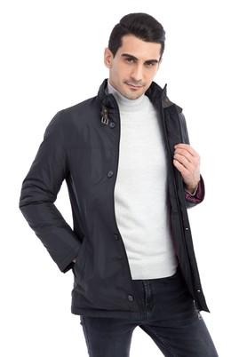 Erkek Giyim - Siyah 52 Beden Dik Yaka Bonded Kaban