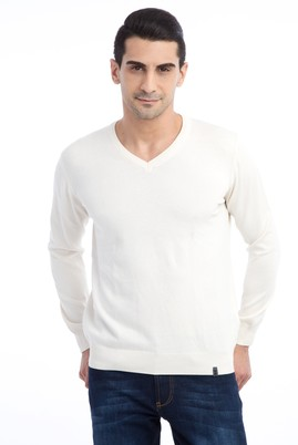 Erkek Giyim - Krem L Beden V Yaka Regular Fit Triko Kazak