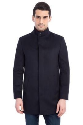 Erkek Giyim - Lacivert 60 Beden Slim Fit Kaşe Yün Kaban