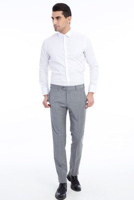 Erkek Giyim - Orta füme 46 Beden Slim Fit Ekose Pantolon