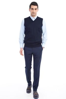 Erkek Giyim - Lacivert 50 Beden Yünlü Klasik Pantolon