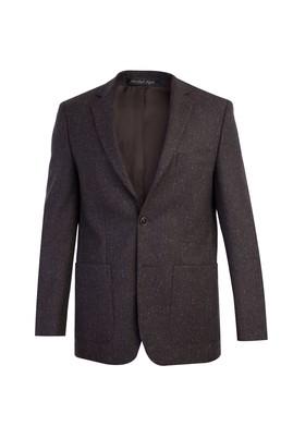 Erkek Giyim - KOYU KAHVE 56 Beden Regular Fit Yünlü Kuşgözü Ceket