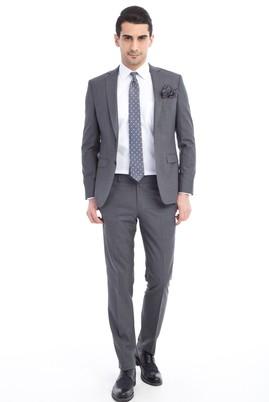 Erkek Giyim - Füme Gri 52 Beden Slim Fit Yün Takım Elbise