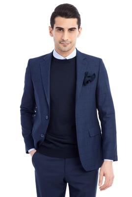 Erkek Giyim - MAVİ 46 Beden Regular Fit Kareli Ceket