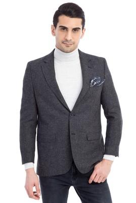 Erkek Giyim - Füme Gri 48 Beden Yünlü Kuşgözü Ceket