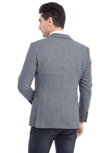 Erkek Giyim - Yünlü Regular Fit Balıksırtı Ceket