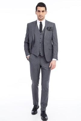 Erkek Giyim - Füme Gri 46 Beden Yelekli Slim Fit Takım Elbise