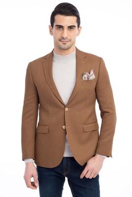Erkek Giyim - Açık Kahve - Camel 46 Beden Desenli Blazer Ceket
