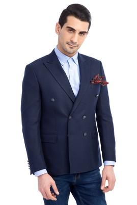 Erkek Giyim - Lacivert 52 Beden Slim Fit Kruvaze Ceket