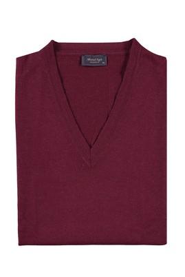 Erkek Giyim - Kırmızı 4X Beden King Size V Yaka Yünlü Süveter